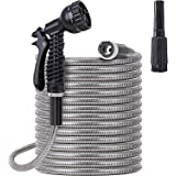 Stainless Steel Garden Hose 75 ft - Metal Water Hose with 2 Nozzles, Lightweight, Tangle Free & Kink Free, Heavy Duty, High P