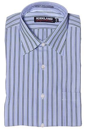 1fa8d60df0e723 Kirkland Signature Men's Button Down Dress Shirt Navy/Light Blue/White  Stripe at Amazon Men's Clothing store: