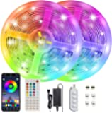Akfado LED Strip Lights, 32.8FT 10M 5050 RGB Bluetooth LED Lights Waterproof Color Changing Lights with 44Keys RF Remote…