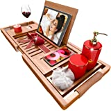 Premium Bathtub Tray [The Longest Bamboo Bath Tray] with Anti-Slip Grips, 1-2 Adults Expandable Bathtub Caddy with Wooden Boo