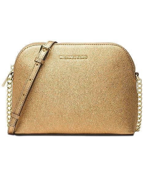 eb6d9e86b95a Michael Kors Crackle Large Dome Metallic Leather Crossbody Bag (Gold ...