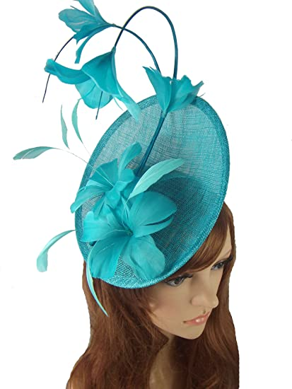 Chapter 78 Boutique Turquoise Blue Statement Curve Saucer Fascinator with  Feather Flowers - Wedding Races  Amazon.co.uk  Clothing f3ba80453d6