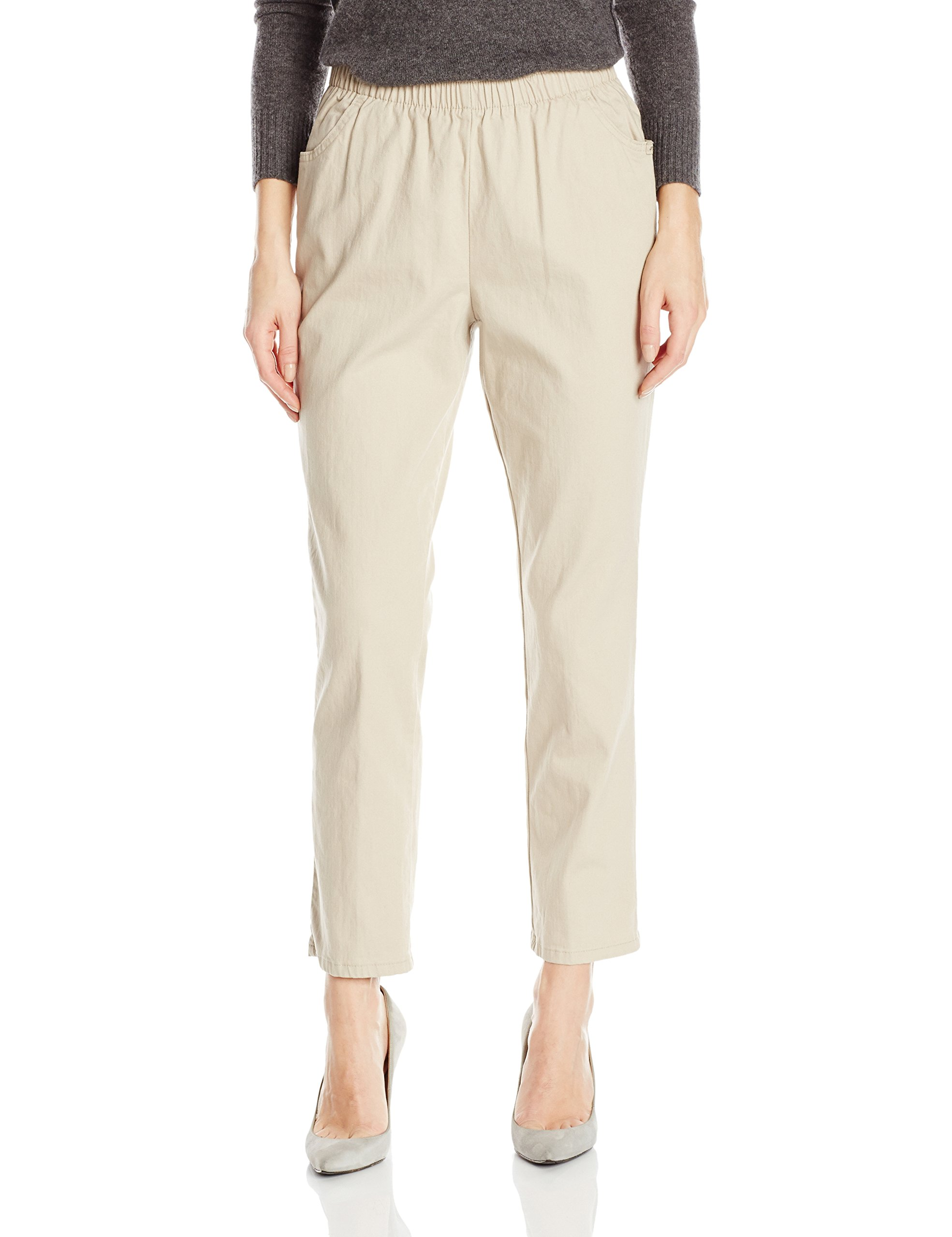 Chic Classic Collection Women's Stretch Elastic Waist Pull-On Pant, Khaki Slub Twill, 14P