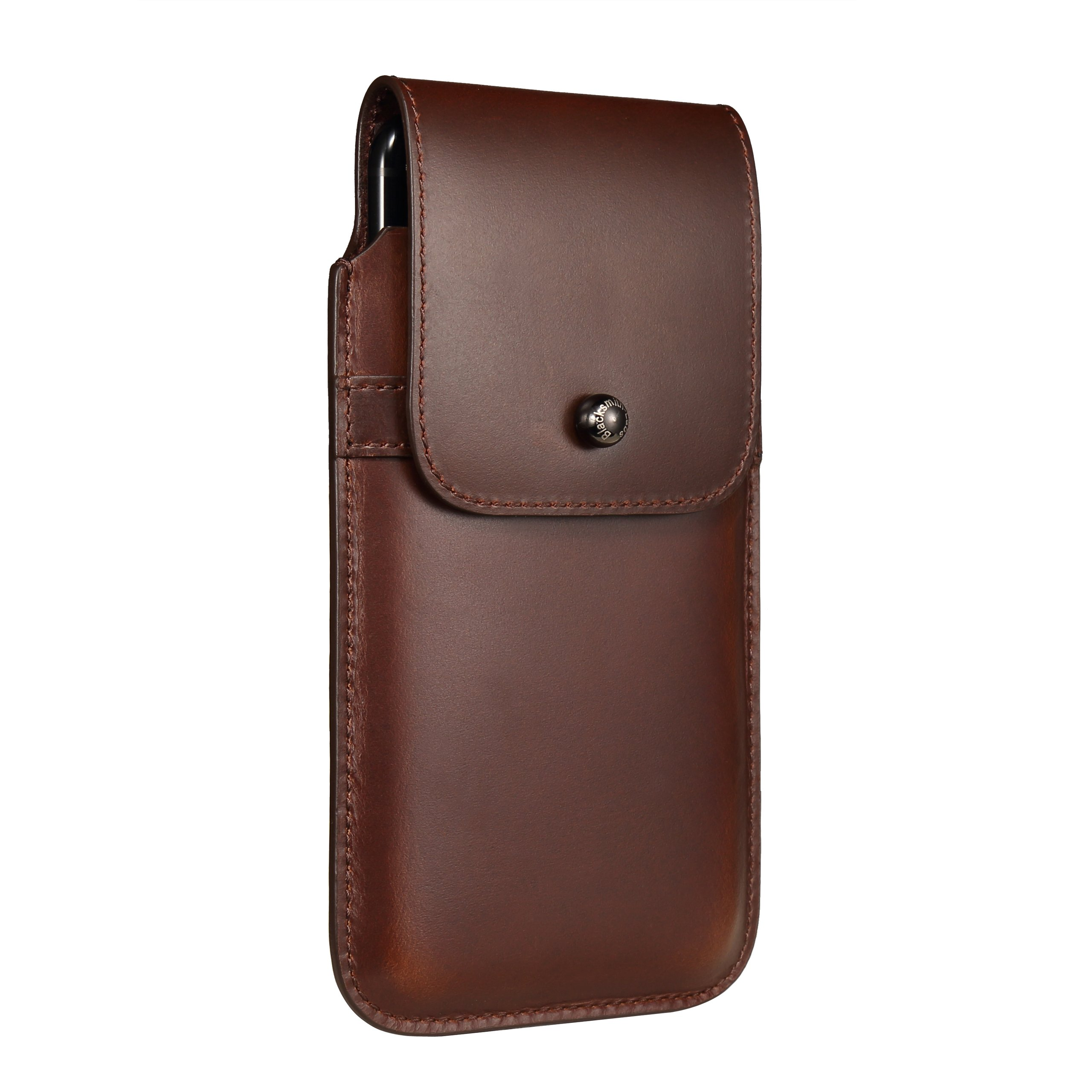 Blacksmith-Labs Barrett 2017 Premium Genuine Leather Swivel Belt Clip Holster for Apple iPhone 7 Plus (5.5 inch screen) for use with no cases or covers - Brown Cowhide/Gunmetal Belt Clip