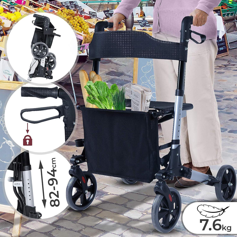 Andador para Ancianos Plegable - Asiento con Respaldo, 4 Ruedas / Frenos / Bolsa Auxiliar & Soporte para Bastón, Altura Regulable, de Aluminio - ...