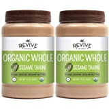 Revive Naturals Organic Stone-Ground Whole Sesame Tahini, Unhulled, Unsalted, Non-GMO, USDA Organic, Gluten-Free, Kosher, Vegan, Tree Nut-Free, 15 Ounce (2-Pack)