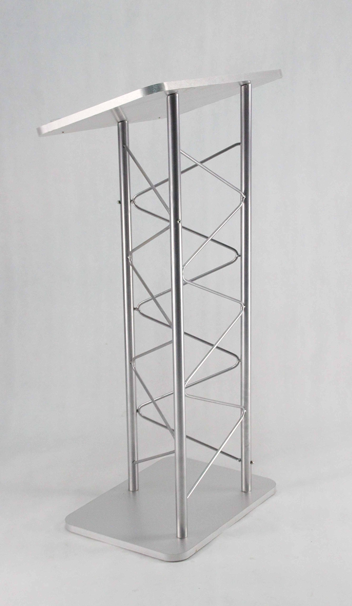 24'' x 46.7'' x 16'' Silver Truss Podium Lectern Pulpit Church School Hotel Speech 15344