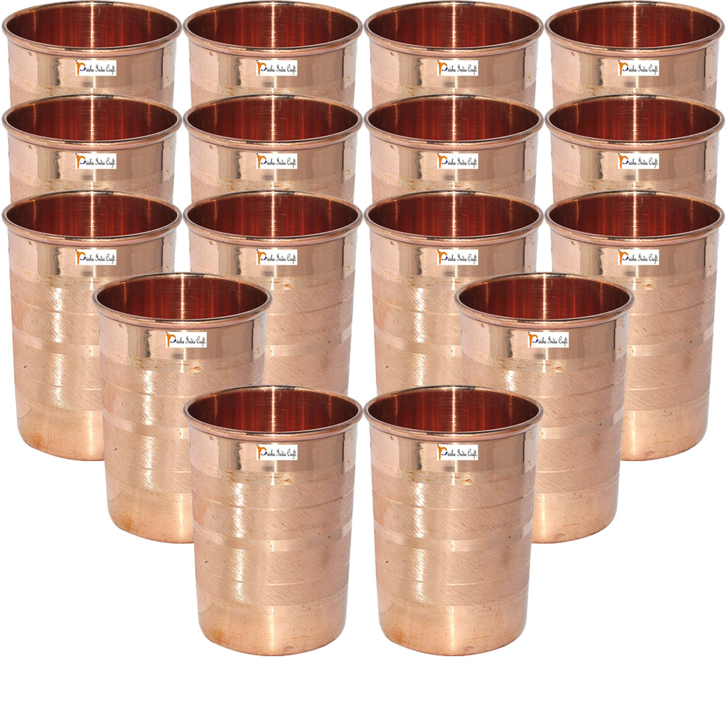 Set of 16 - Prisha India Craft Copper Cup Water Tumbler - Handmade Water Glasses - Traveller's Copper Mug for Ayurveda Benefits - CHRISTMAS GIFT ITEM