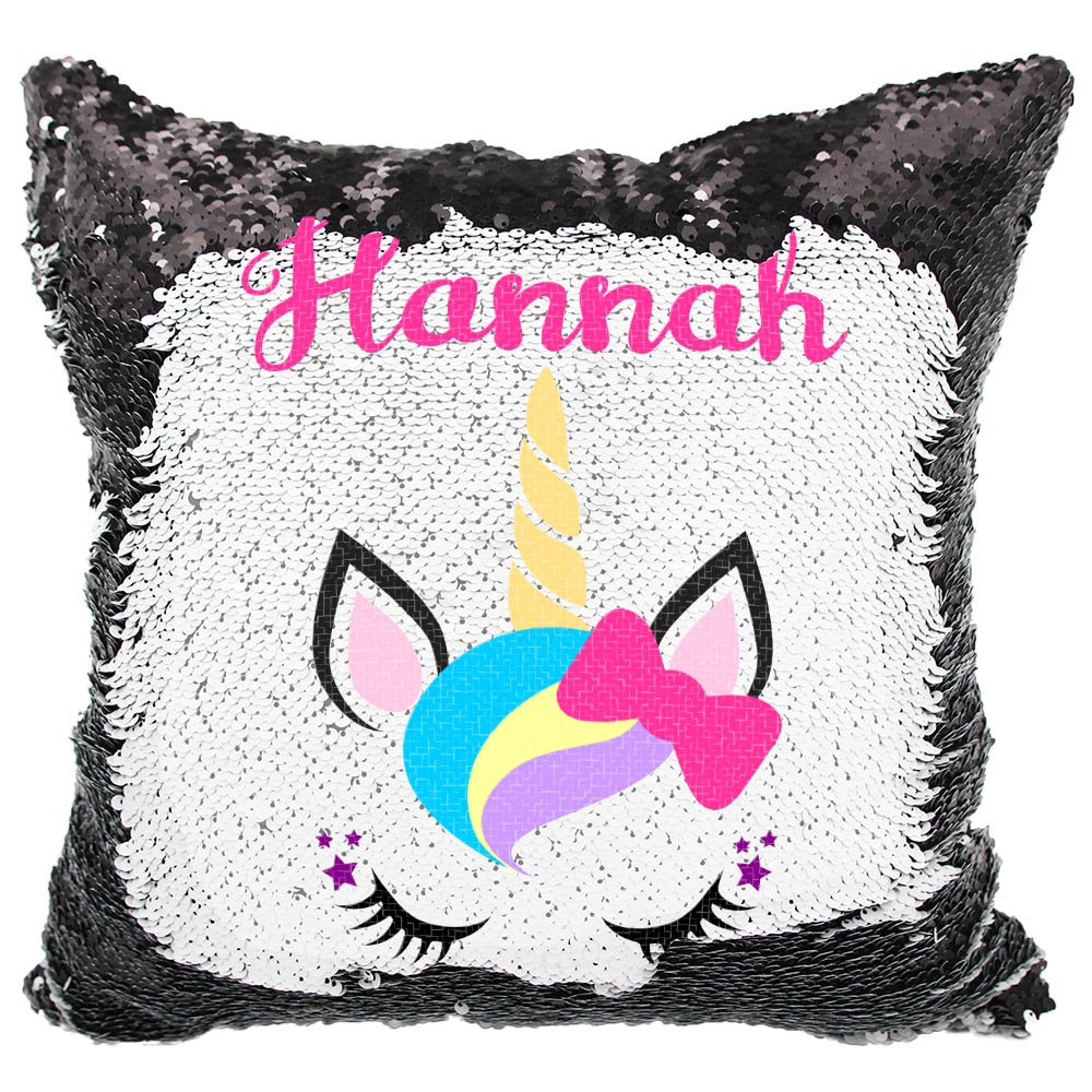 Personalized Mermaid Reversible Sequin Pillow, Custom Unicorn Bow Sequin Pillow (White/Silver) VeraFide uni-bow_wht