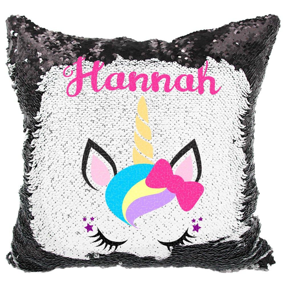 Personalized Mermaid Reversible Sequin Pillow, Custom Unicorn Bow Sequin Pillow (White/Silver) VeraFide uni-bow_wht