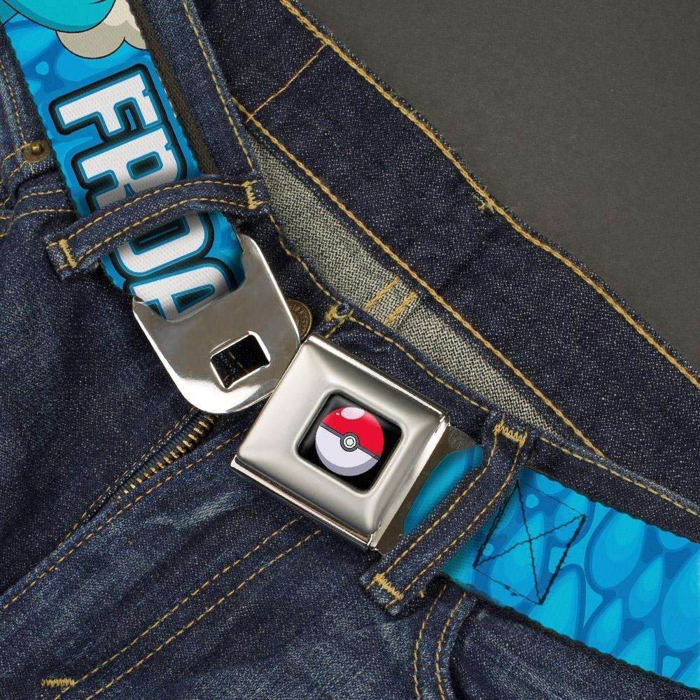 1.0 Wide 20-36 Inches in Length POKEMON X /& Y FROAKIE Poses//Water Drops Blues Buckle-Down Seatbelt Belt