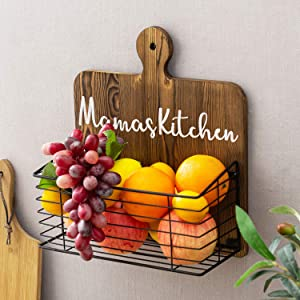 MyGift Mama's Kitchen Cutting Board Style Produce and Fruits Storage Basket with Rustic Dark Brown Wood and Black Metal Wire, Canned Food, Spice Jars, Multipurpose Organizer Wall Rack