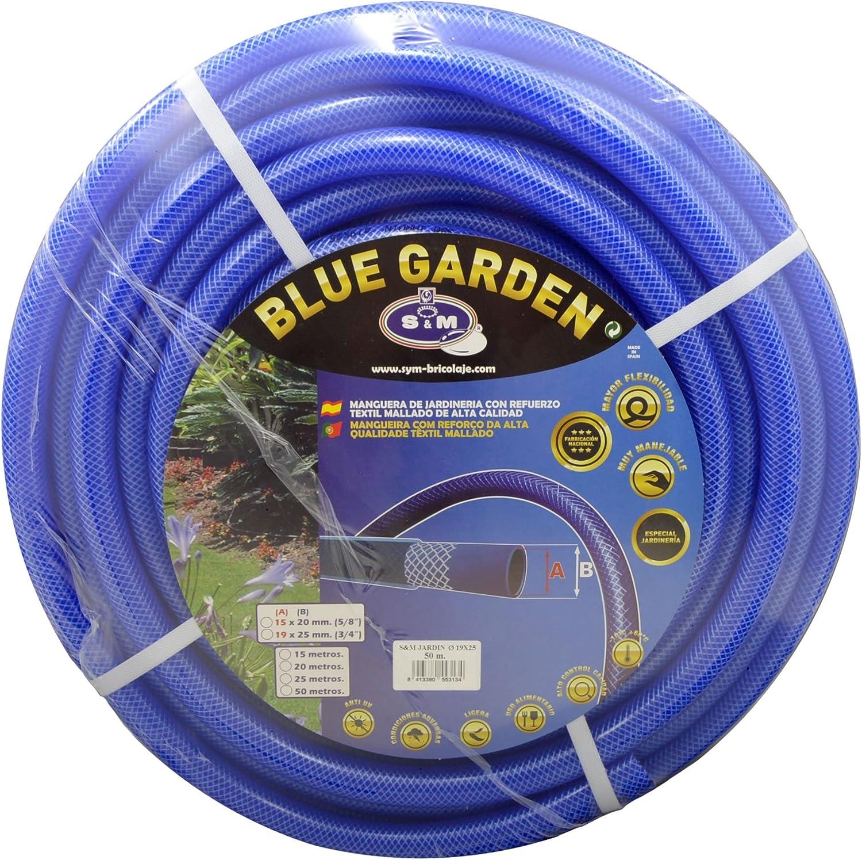 """S&M 553134 Manguera de jardinería Reforzada Blue Garden, Azul, Rollo 50 Metros- 19 x 25 mm- (3/4""""): Amazon.es: Jardín"""