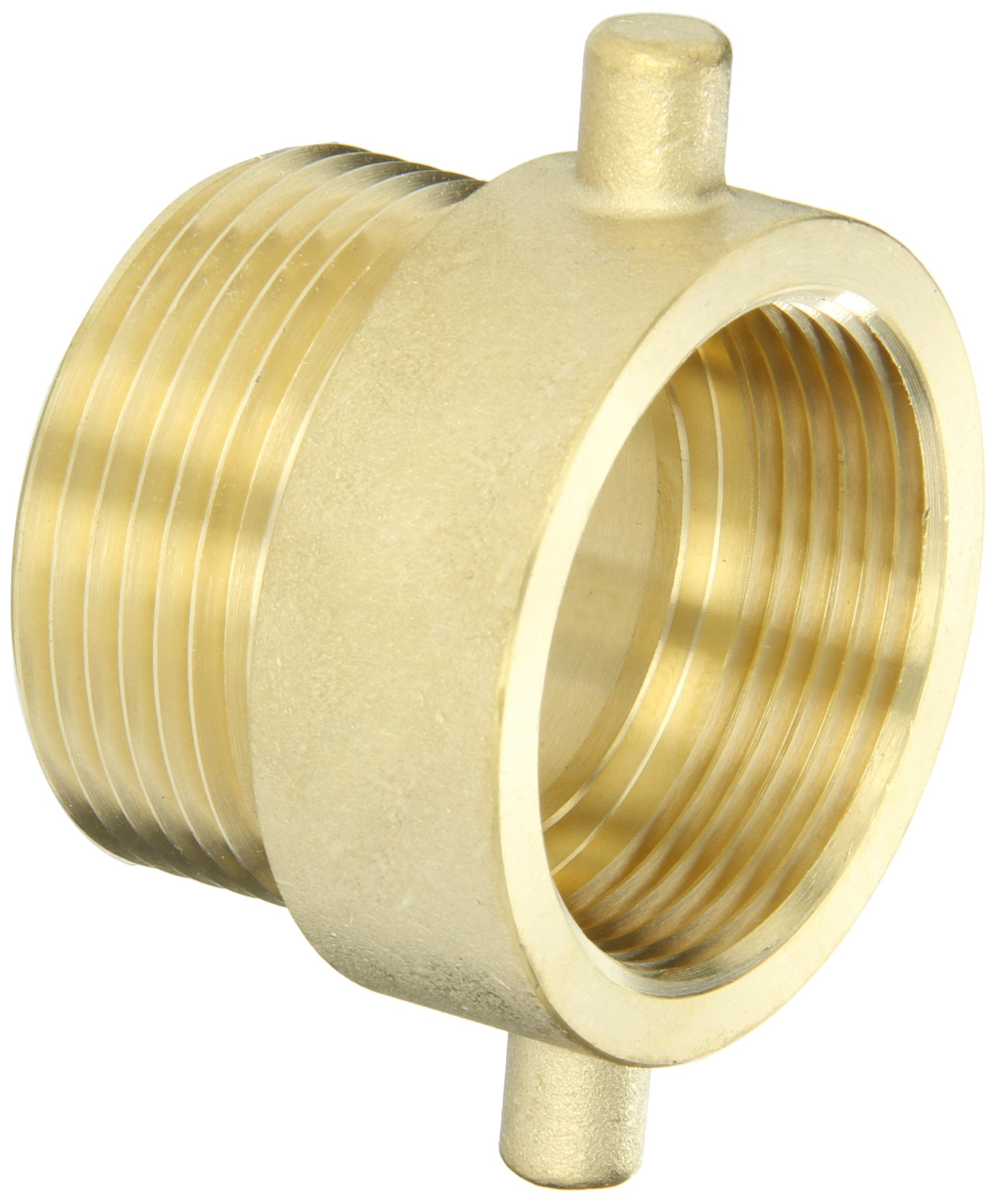 Dixon Valve HA15T15F Brass Fire Equipment, Hydrant Adapter with Pin Lug, 1-1/2'' NPT Female x 1-1/2'' NST (NH) Male