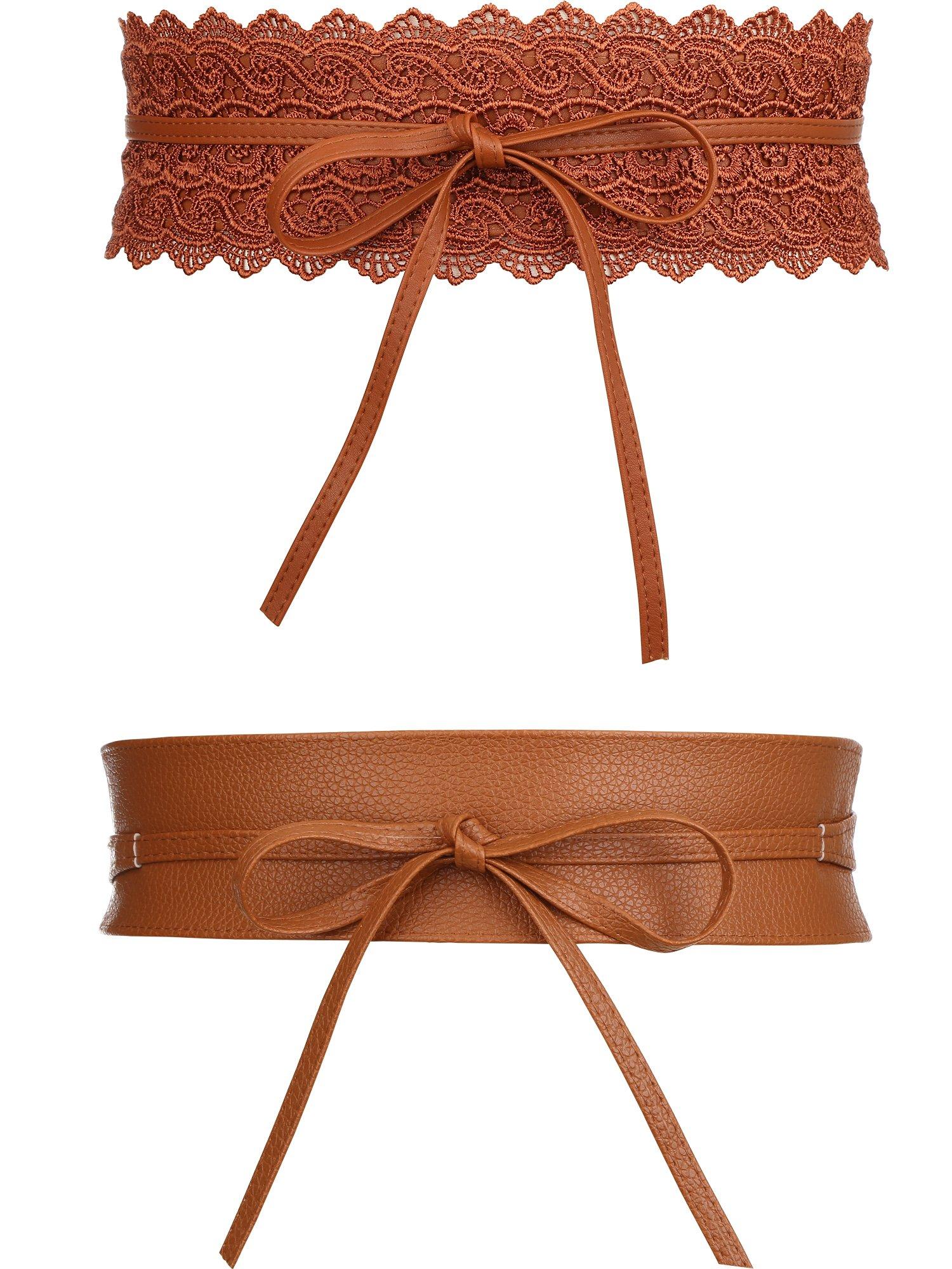 TecUnite 2 Styles Women's Leather Waist Belt Vintage Bowknot Leather Wide Waist Cinch Belt Wrap Around Bow Tie for Dresses (Tan)