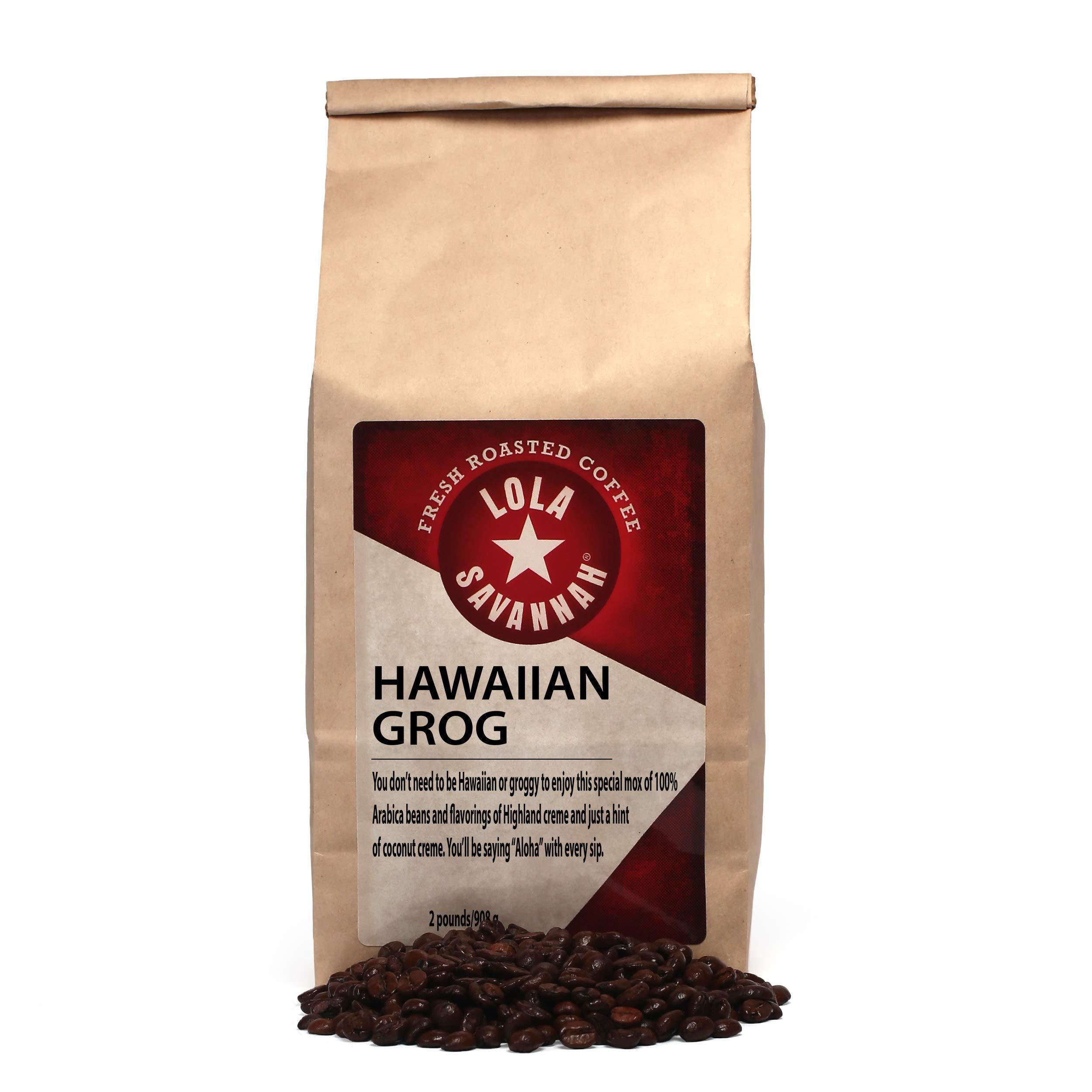 Lola Savannah Hawaiian Grog Whole Bean Coffee - Roasted Arabica Beans Bring the Flavors Of The Tropics To Your Cup Of Coffee | Caffeinated | 2lb Bag