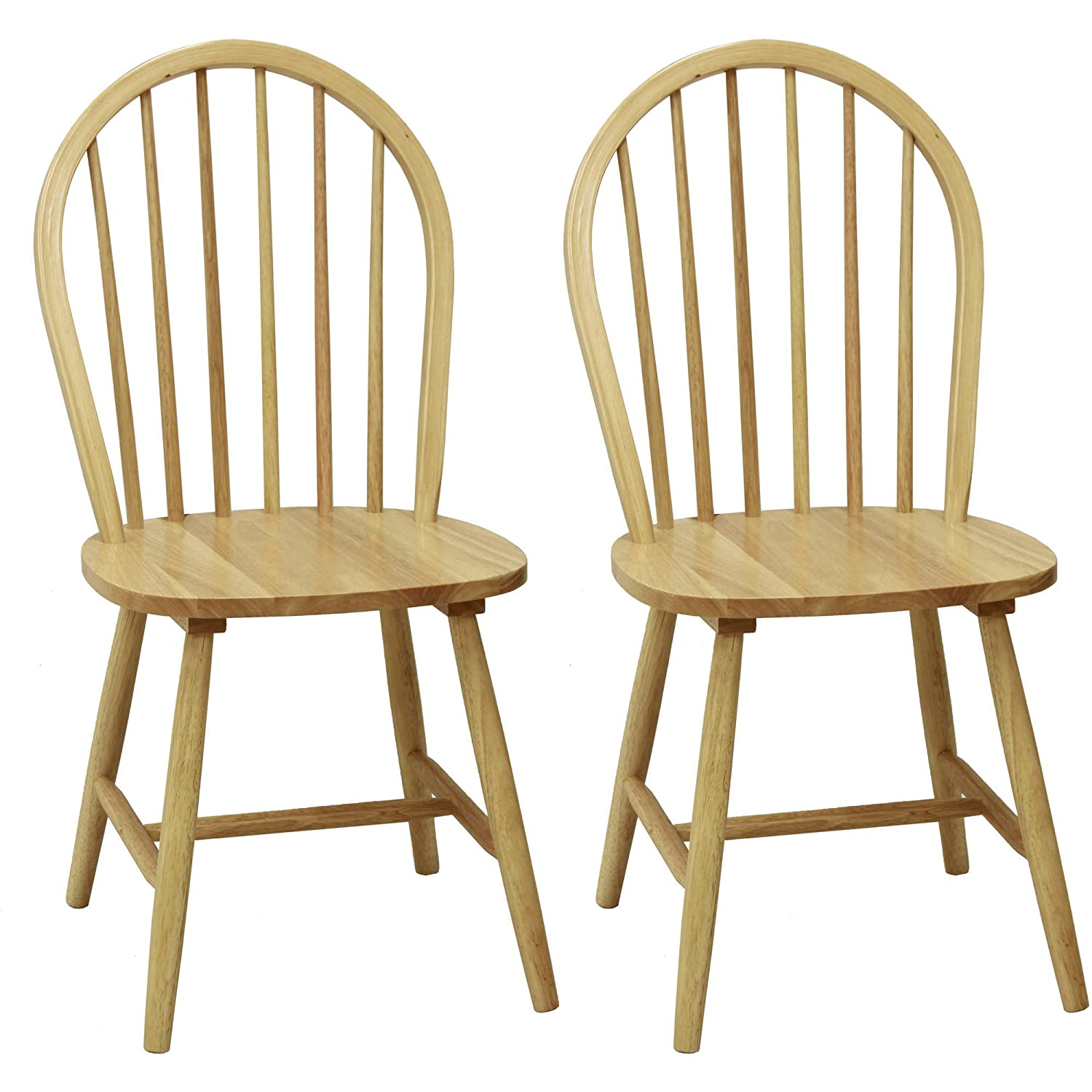 Amazoncom Windsor Chair in Natural Set of Two Chairs