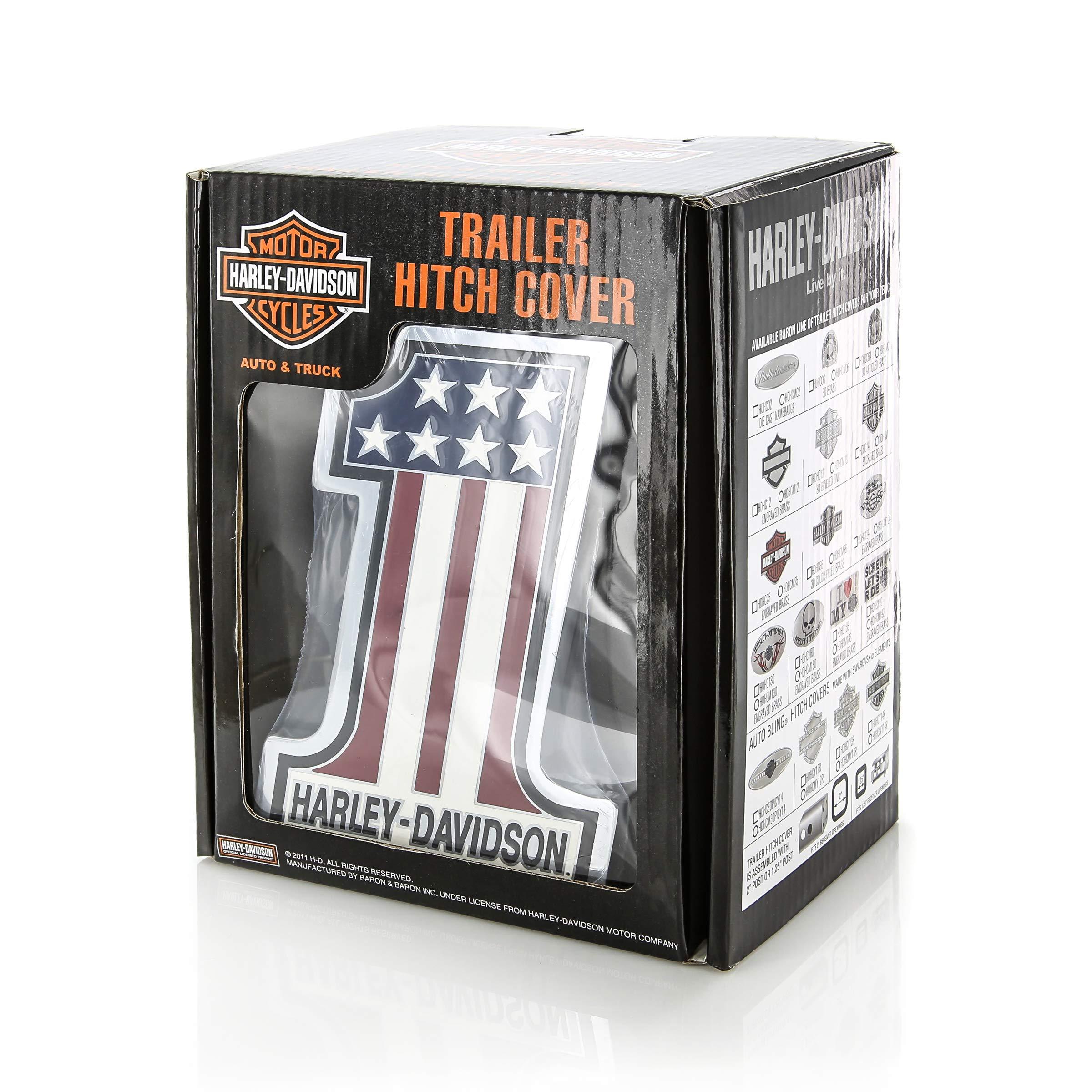 Harley Davidson Car Truck SUV Hitch Plug Cover Receiver - #1 Logo USA Flag Stars w/Script by Harley-Davidson