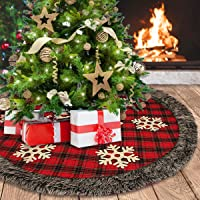 Aiduy Christmas Tree Skirt, 48 Inch Large Xmas Tree Skirt, Burlap Buffalo Plaid Christmas Tree Skirt with Thick Faux Fur…