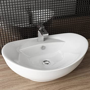 Aufsatzwaschbecken gäste wc oval  DESIGN KERAMIK WASCHTISCH AUFSATZ WASCHBECKEN WASCHPLATZ FÜR ...