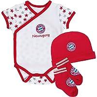 FC Bayern München Baby Set, dreiteilig mit Body, Mütze und Söckchen