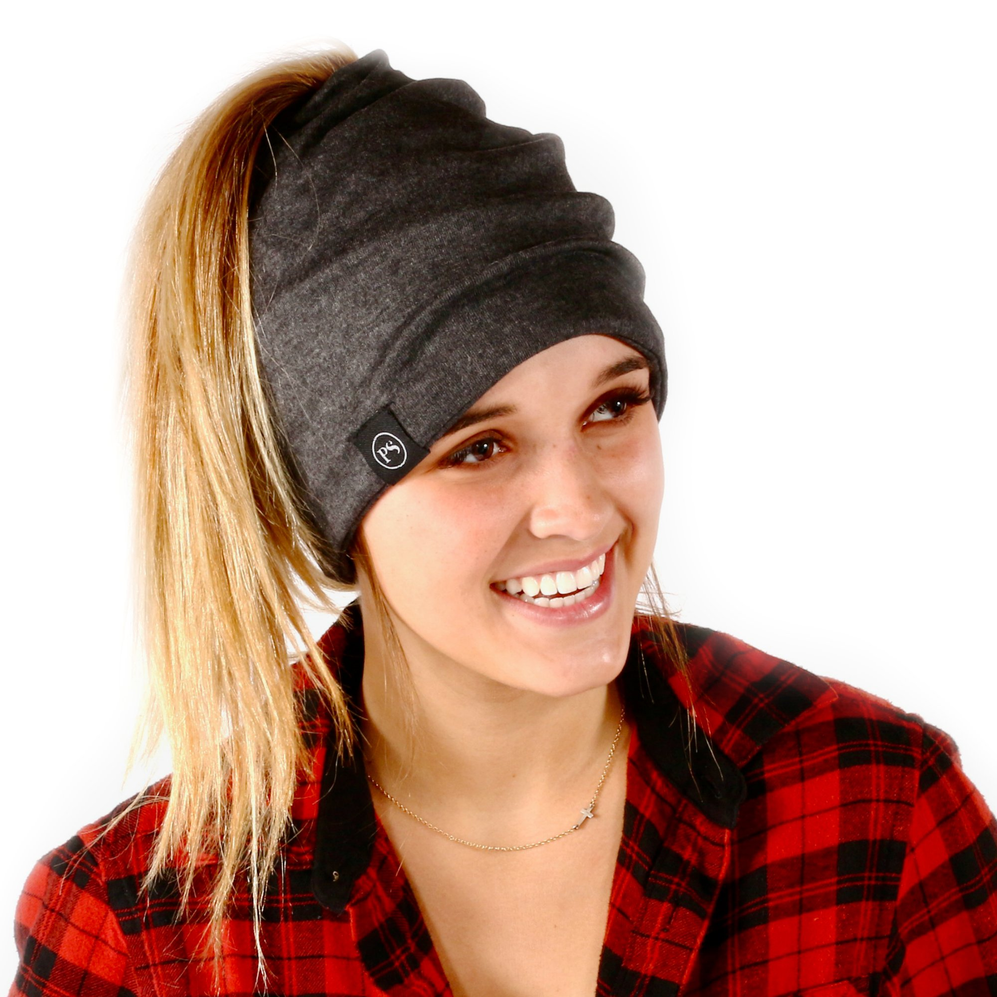 Peek a Boo Women's Beanie Slouchy Beanie with Hole for Pony Tail or Sloppy Bun perfect for Work Out by Pretty Simple (Charcoal)