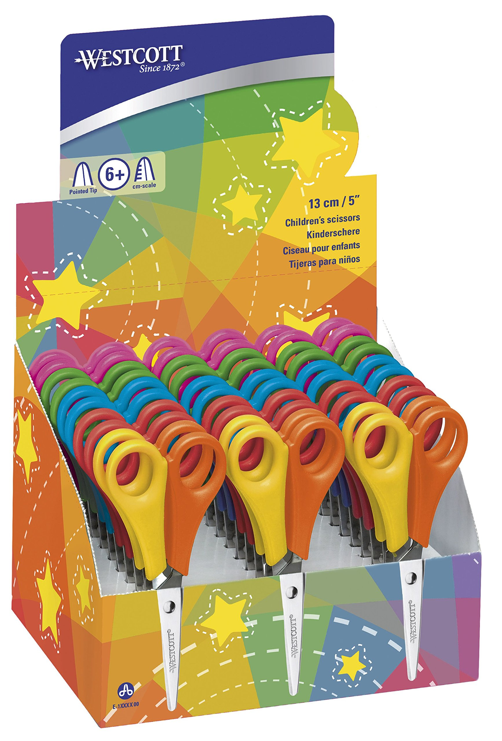 Westcott E-2151S Kids Scissor Witch cm-Scale, Pointed tip, 5''/13 cm, 30 pcs. Assorted, Right- and lefthanded use by Westcott