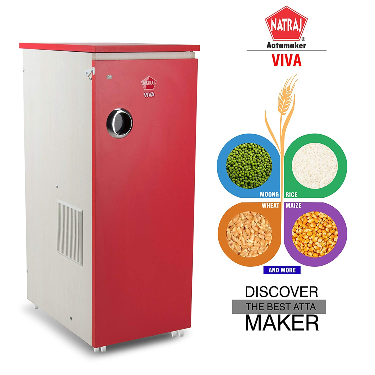 Buy Natraj Viva Domestic Flour Mill Aata chakki Ghar Ghanti Fully Automatic  Without Vacuum Red Matte Finish Online at Low Prices in India - Amazon.in