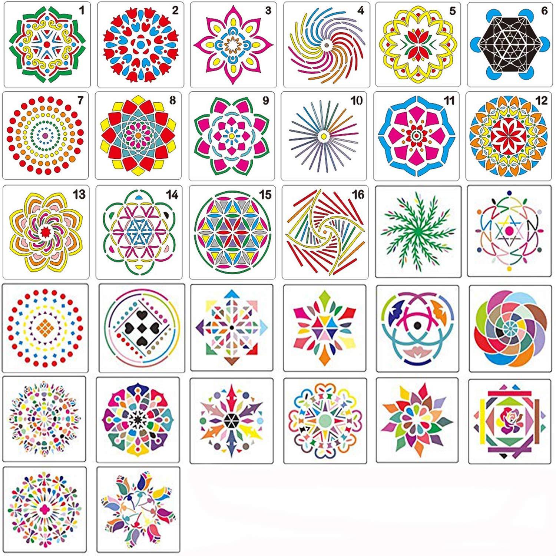 32 Pack Mandala Dotting Stencils,Mandala Dot Painting Templates Stencils for DIY Rocks Stone Airbrush Wall Art Canvas Wood Furniture Cards Painting Art Projects by Adawlert