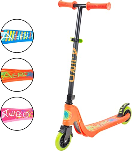 Flybar Aero Micro Kick Scooter for Kids Pro Design with LED Light Up Wheels, Adjustable Handle Height, Rear Fender Break for Boys and Girls Ages 5 and Up with 175lb Weight Capacity