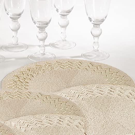 Round Ivory Beaded Design Placemat - Set of 4