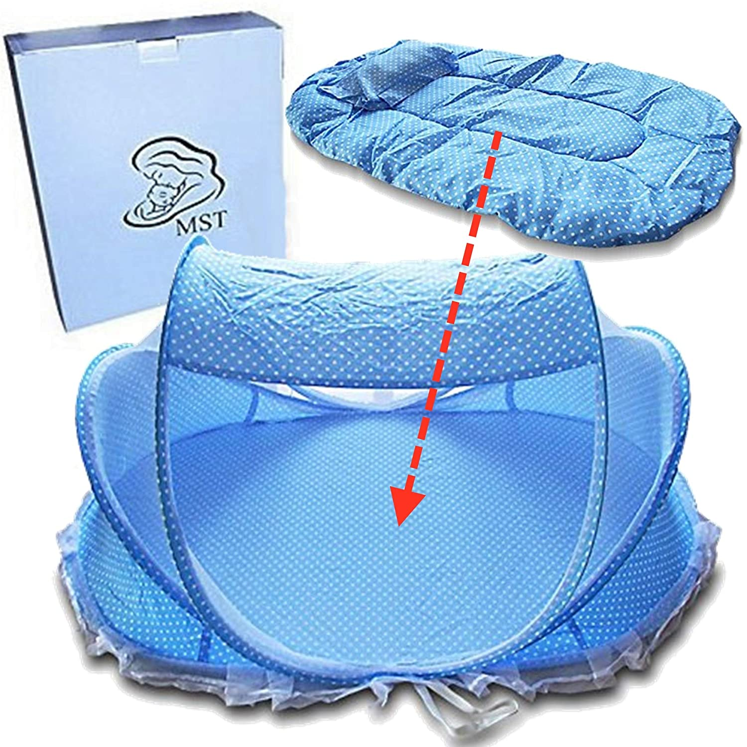 Baby Travel Bed Crib,Foldable Baby Infant Cradle Anti-Bug Tent with Protective Mosquito Net, Portable with Mattress Pillow for 0-18 Month Baby Outdoors and Indoors(Blue) MCBInfinity