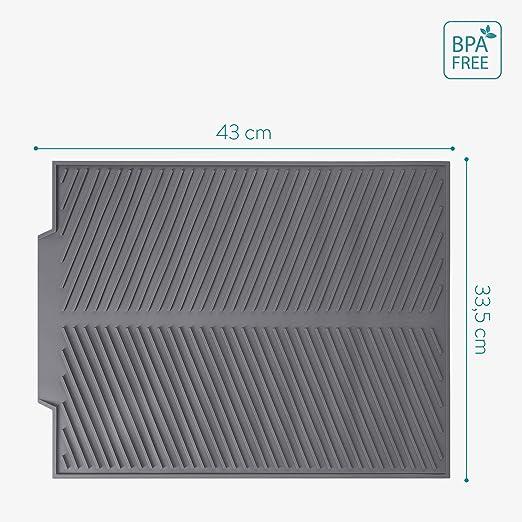 43 x 33.5 CM Alfombrilla para secar Platos Escurridor de Cocina sin BPA Navaris Alfombra escurreplatos de Silicona Bandeja de Goma con Goteo