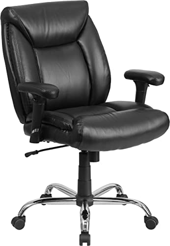 Flash Furniture HERCULES Series Big Tall 400 lb. Rated Black LeatherSoft Deep Tufted Ergonomic Task Office Chair