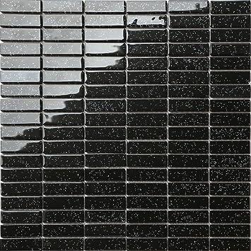 30cm x 30cm black rainbow glitter glass mosaic tiles sheet mt0010