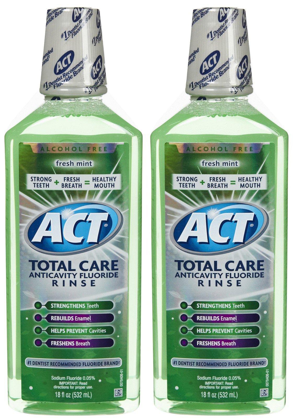 ACT Total Care Anticavity Fluoride Mouthwash-Fresh Mint-18 oz, 2 pk