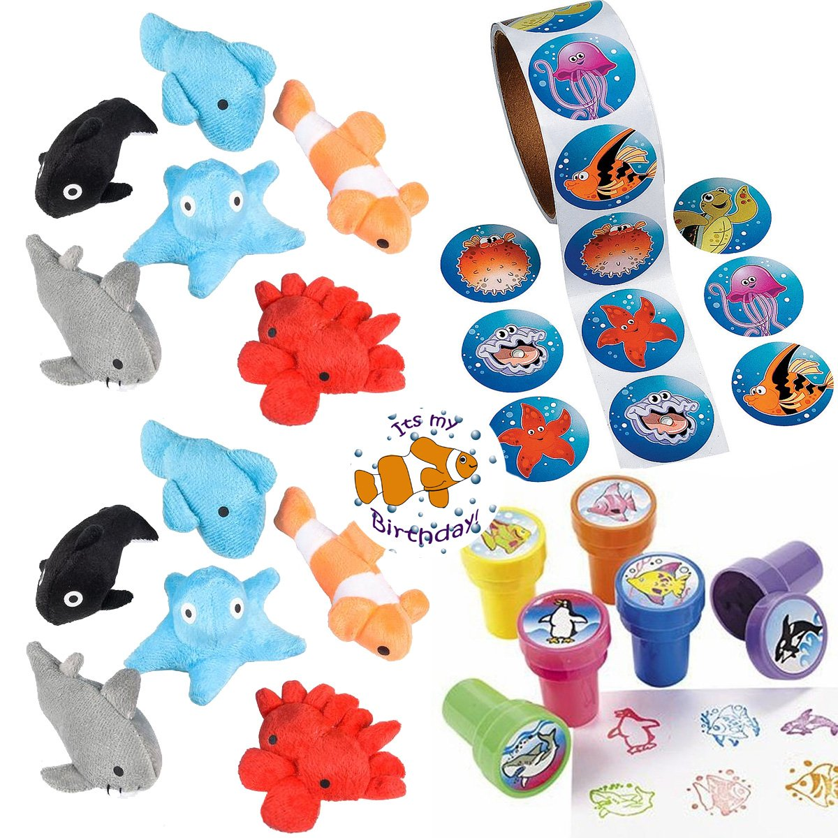 Sea Animal Party Favors 24 - Plush Mini Ocean Animals (24), Sea Creature Stampers (24), Ocean/Fish Stickers (Roll 100) a Birthday Sticker (Total 149 Pieces)