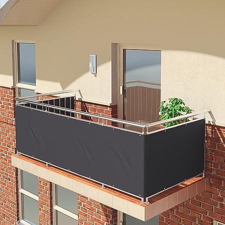 Imagen dePantalla de balcón premium de Balconio, x cm, impermeable, pantalla para balcón para tener privacidad, con cierre de cuerda incluido, poliéster, antracita, 550 x 85 cm