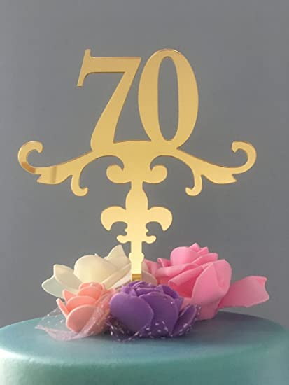 Amazon ShinyBeauty Cake Topper 70th BirthdayGold Glitter First