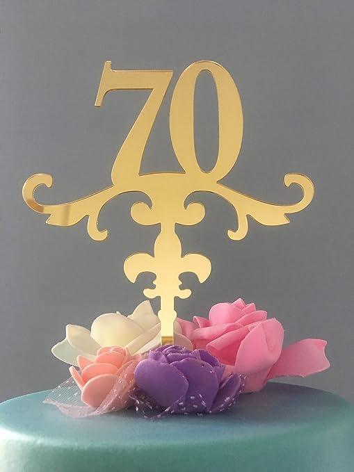 Amazon.com: ShinyBeauty Cake-Topper-70th-Birthday,Gold Glitter First ...