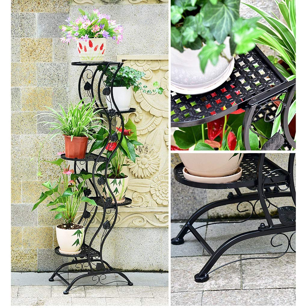 CATRP Simple Balcony Iron Floor-Style Flower Rack/Multi-Layer Indoor and Outdoor Metal Plant Display Stand Vertical Flower Rack (Color : Black)