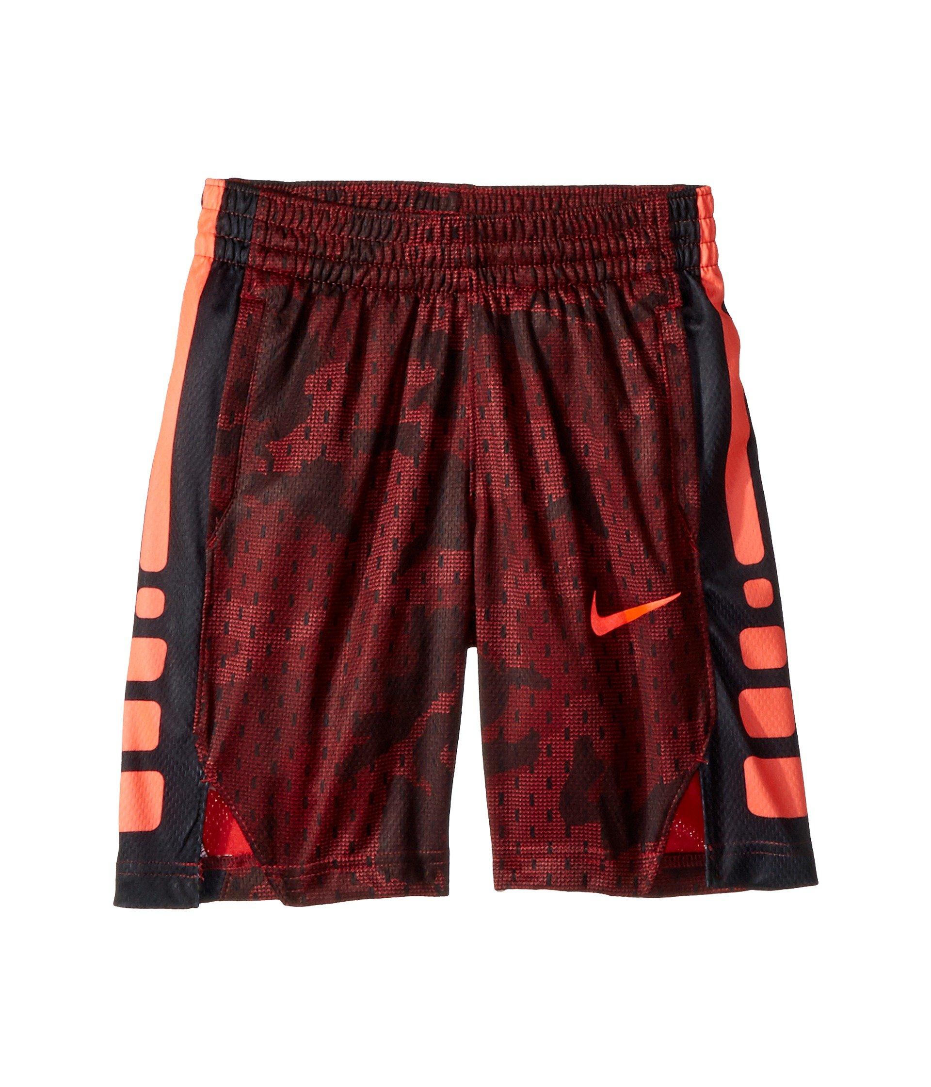 NIKE Boy's Dry Elite Camo Print Basketball Shorts (Red Crush/Black, X-Small)