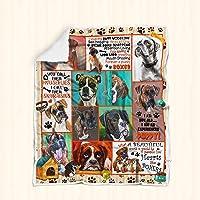 Boxer Dog Sofa Blanket P235 Sherpa Fleece Throw Blankets Bedding Fleece Blanket Reversible -Decorative Blanketed - Artwork Sherpa Blanket - Best Gift 2019