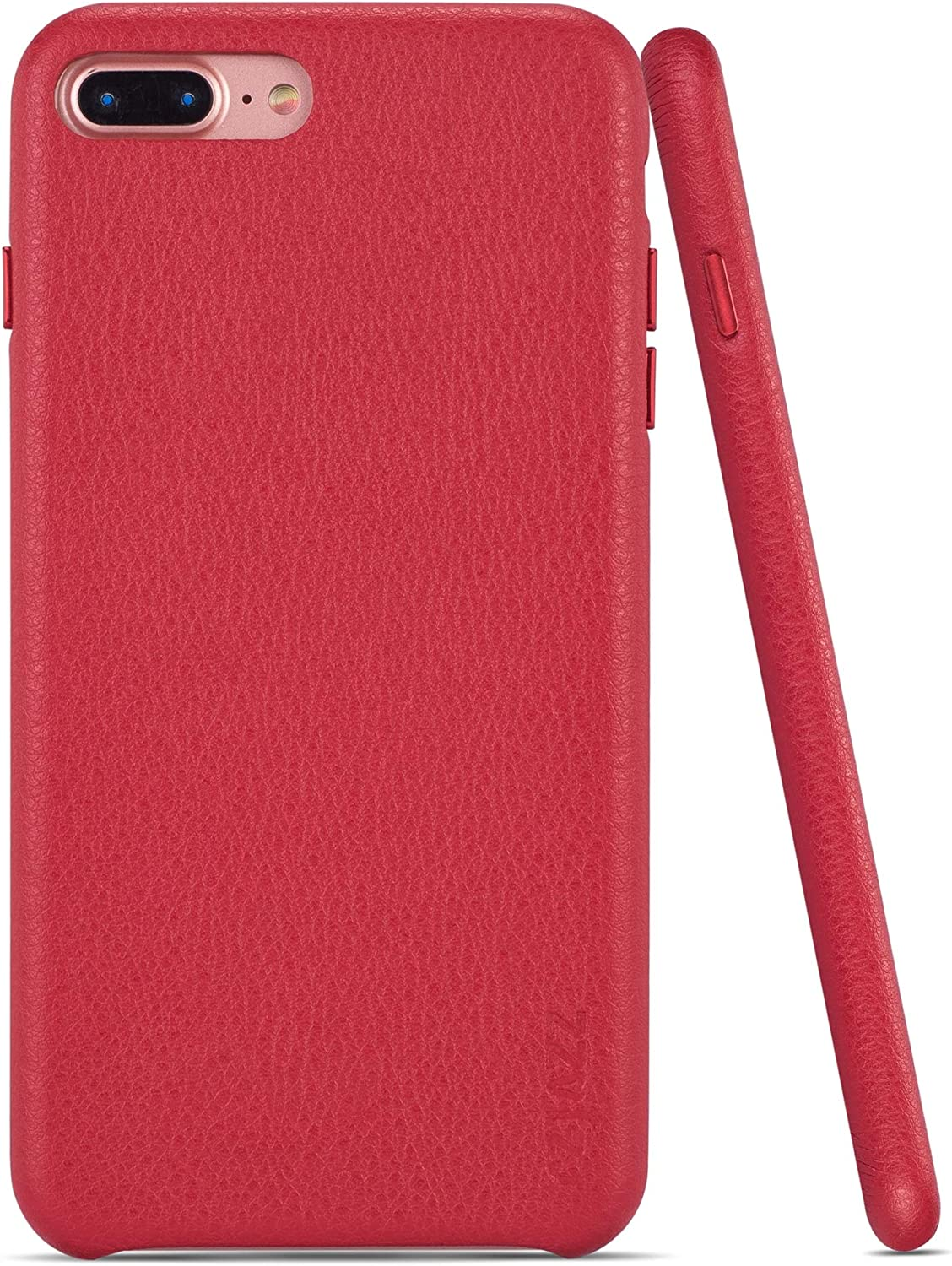 rejazz iPhone 7 Plus Case iPhone 8 Plus Case Anti-Scratch iPhone 7 Plus Cover iPhone 8 Plus Cover Genuine Leather Apple iPhone Cases for iPhone 7/8 Plus (5.5 Inch) (Brown)(Red)