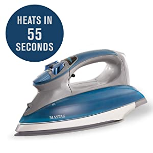 Maytag Digital Smart Fill Steam Iron & Vertical Steamer with Pearl Ceramic Sole Plate, Removable Water Tank + Thermostat Dial, Grey/Blue