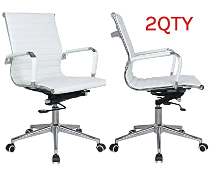 Classic Replica mid back office chair white Pleather - stabilizing swivel bar and knee tilt with  sc 1 st  Amazon.com & Classic Replica mid back office chair white Pleather - stabilizing swivel bar and knee tilt with tensioner knob. Sold in a (PACK of 2) chairs with ...
