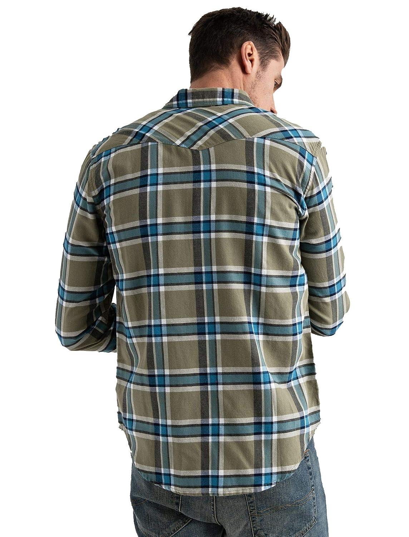 Lucky Brand Mens Sante Fe Western Shirt in Green Plaid