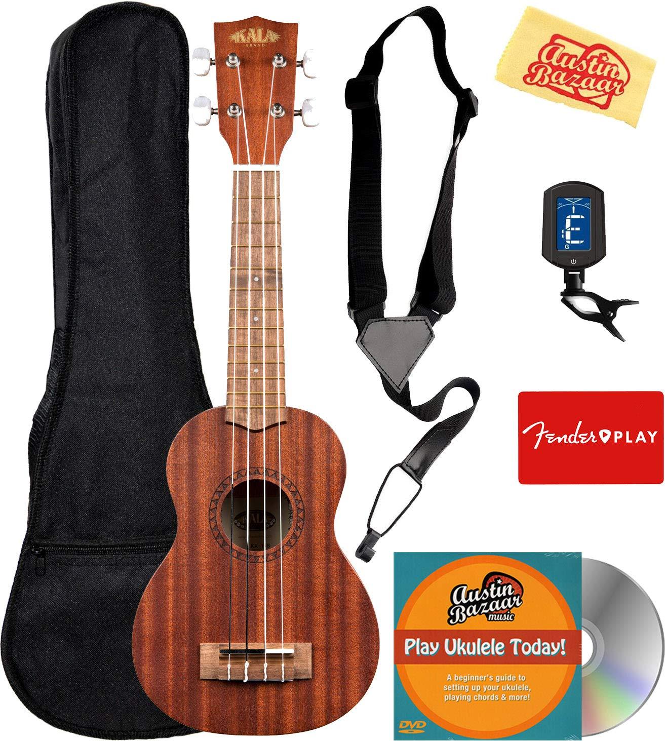 Kala KA-15S Satin Mahogany Soprano Ukulele Bundle with Gig Bag, Tuner, Strap, Fender Play, Austin Bazaar Instructional DVD, and Polishing Cloth by Kala