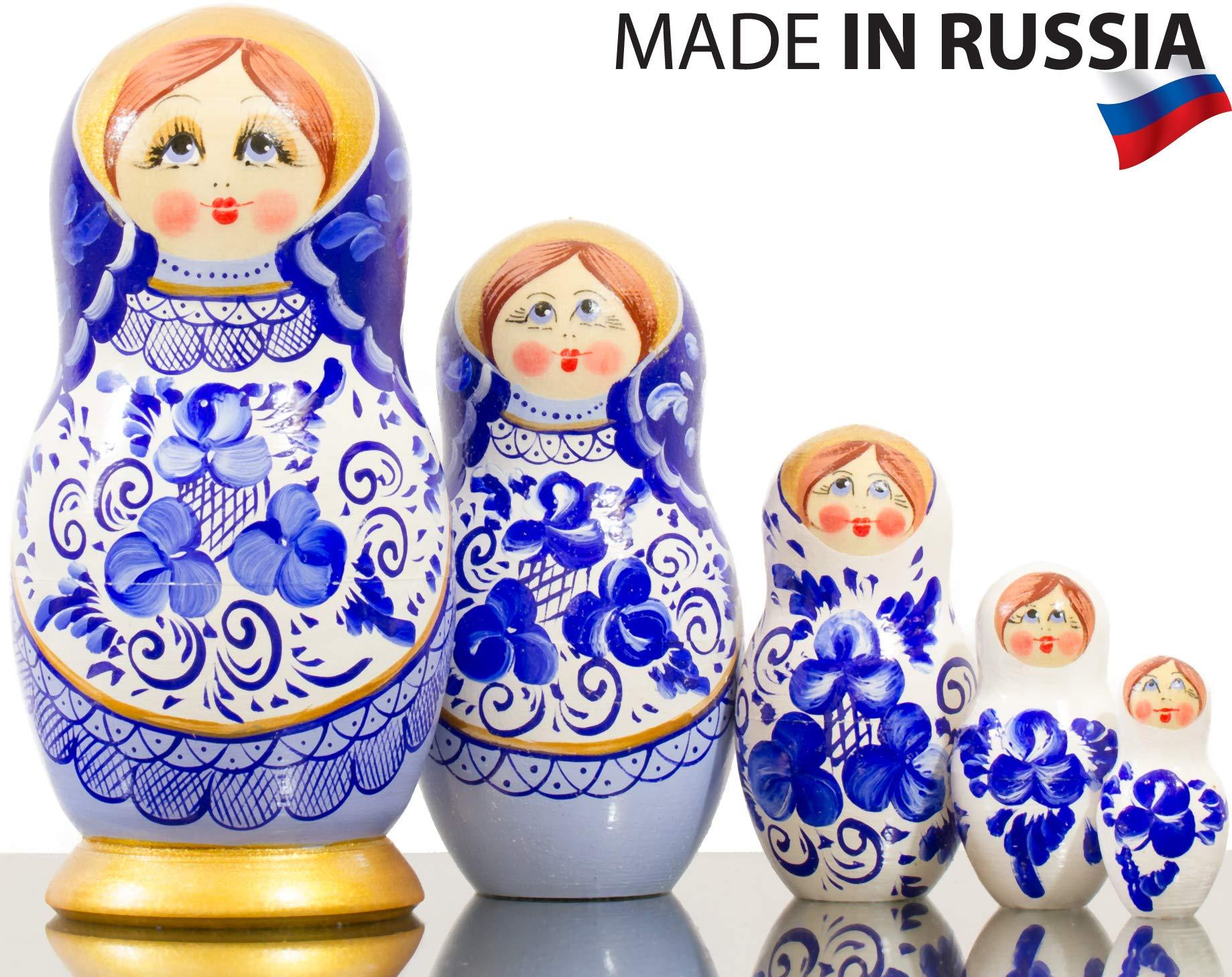 Nesting Doll - Russian Village - Hand Painted in Russia - Big Size - Wooden Decoration Gift Doll - Matryoshka Babushka (Style B, 6.75``(5 Dolls in 1))
