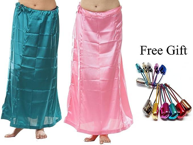 dba5b5e8cc7 odishabazaar Women s Saree Petticoat Satin Silk Underskirt Lining (Large) -  Pack of 2 +